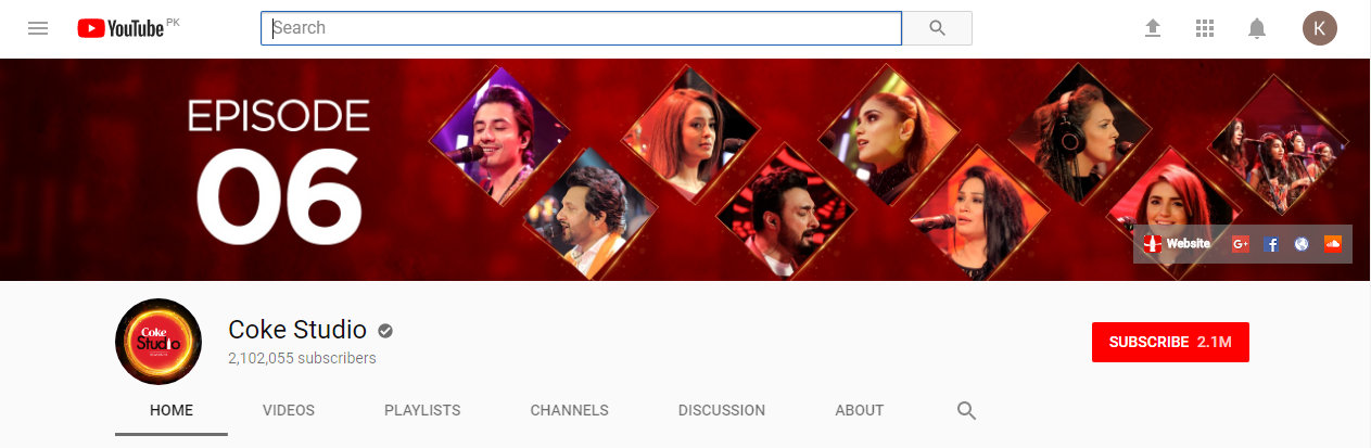 Branded channel of Coke Studio